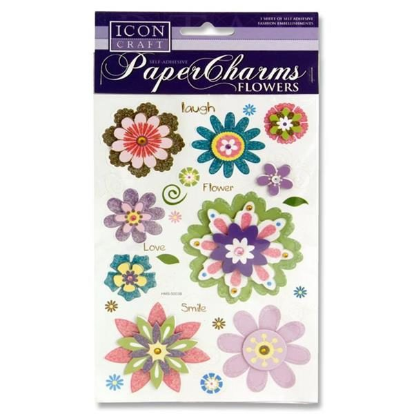 ICON CRAFT PAPER CHARMS - FLOWERS 1