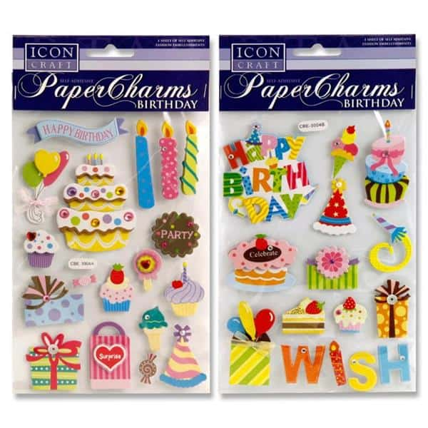 ICON CRAFT PAPER CHARMS - BIRTHDAY 2 ASST