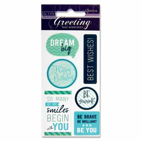 ICON CRAFT PKT.12 GREETING SELF ADHESIVES - BLUE