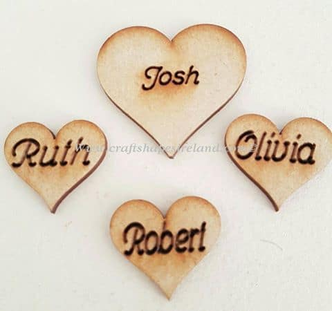 Engraved personalised hearts