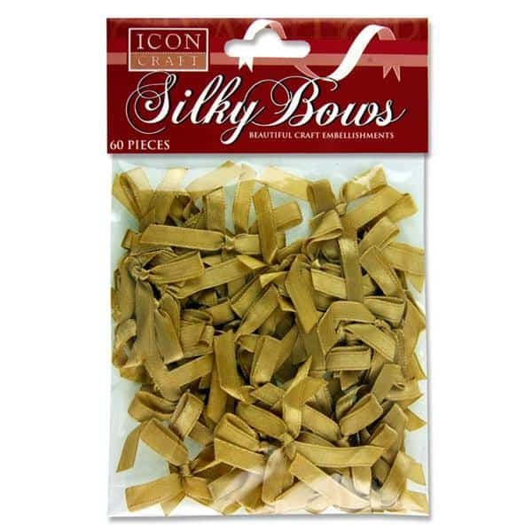 ICON CRAFT PKT.60 6mm SILKY BOWS - GOLD