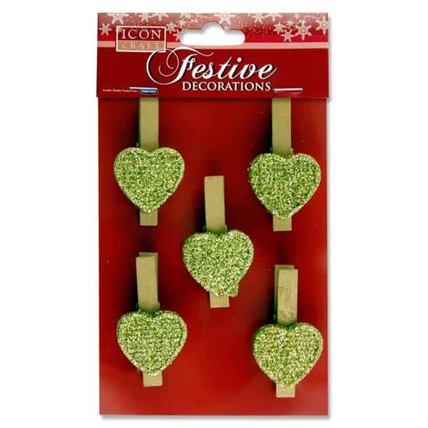 ICON CRAFT PKT.5  PEG DECORATIONS - HEART GOLD