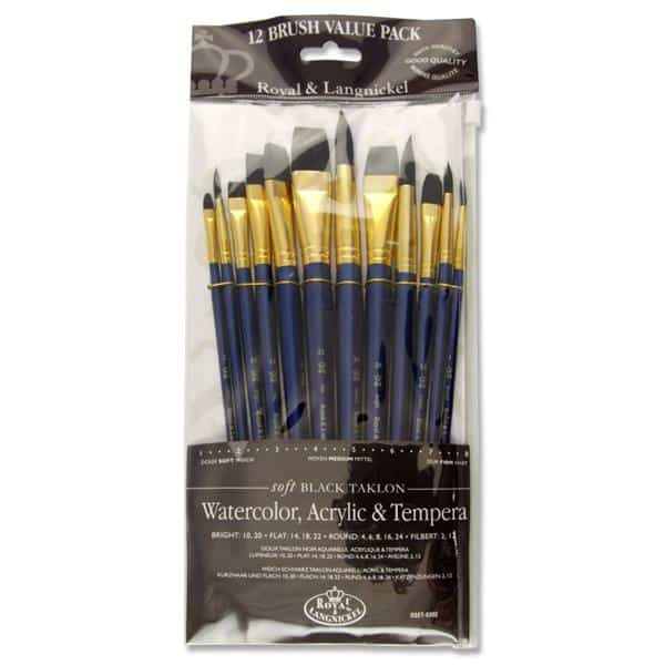PKT.12 SHORT HANDLE BRUSH SET - SOFT BLACK TAKLON