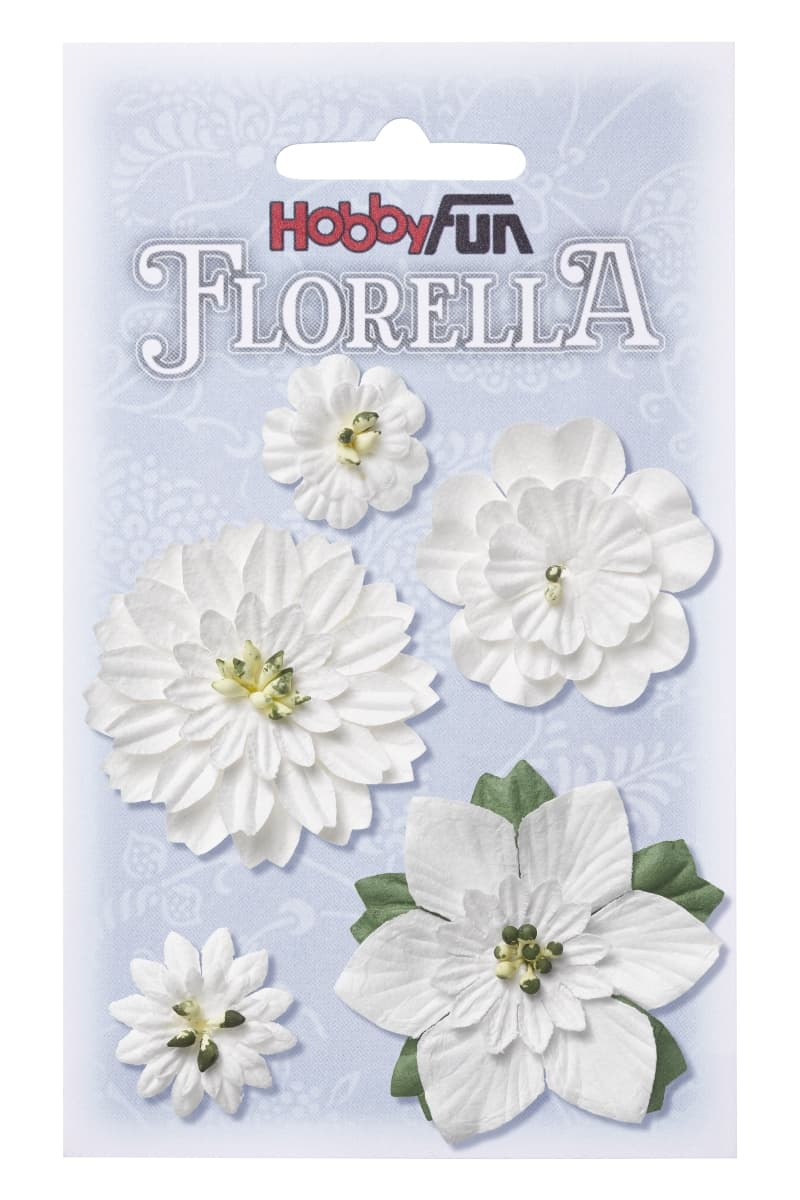 FLORELLA Flowers, mulberry paper, 2 - 5 cm, assorted, white, bag with 5 pcs 3866061