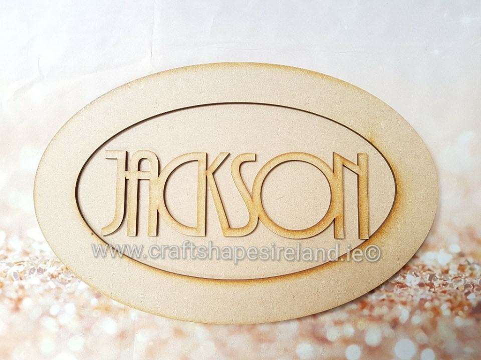 Oval double layer plaque with name Retro