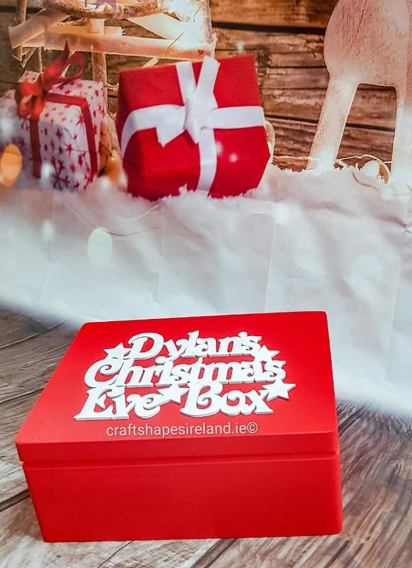 Christmas eve box Red, Stars- Choice of sizes