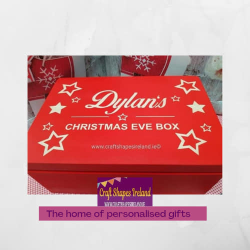 Christmas Eve box Engraved Red, Stars