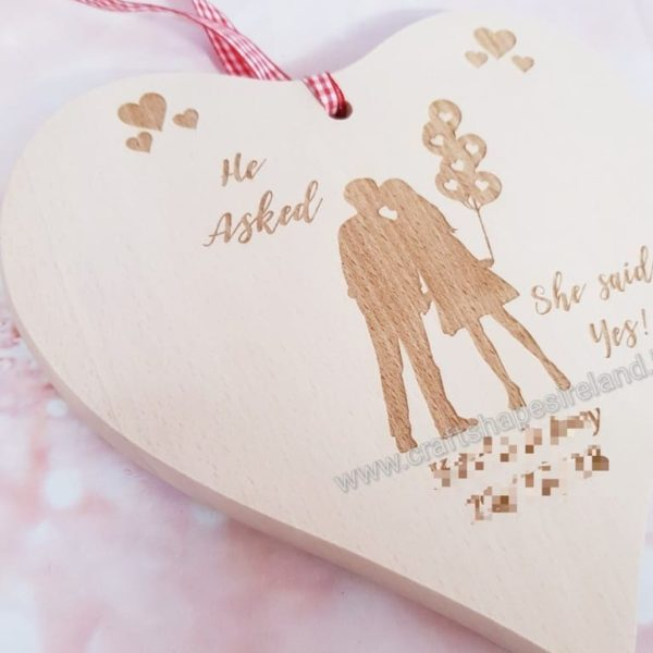 Personalised wooden heart - Engagement