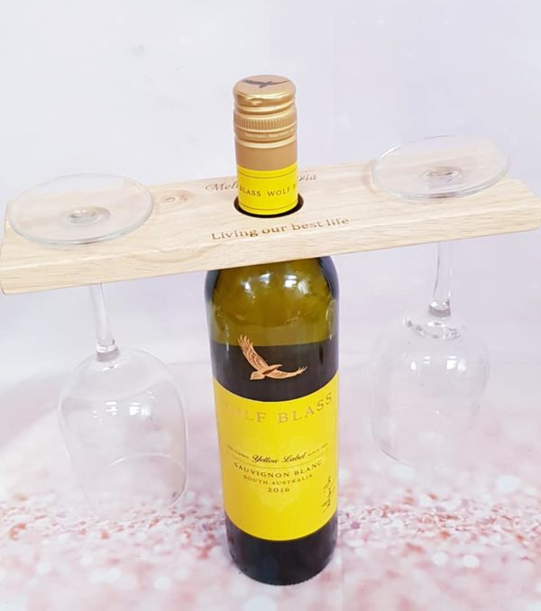 Personalised wine bottle butler and glass holder