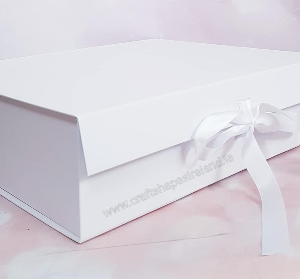 White Gift Boxes With Ribbon Large