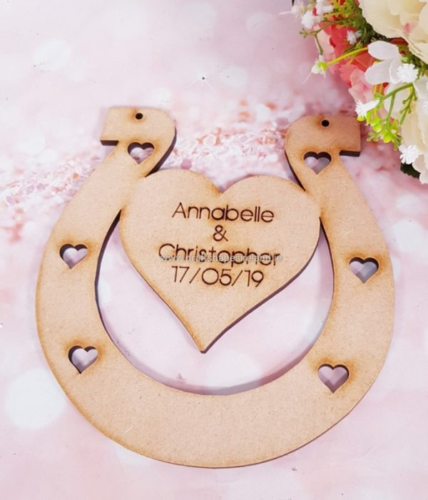 Horse Shoe with heart - blank or Personalised