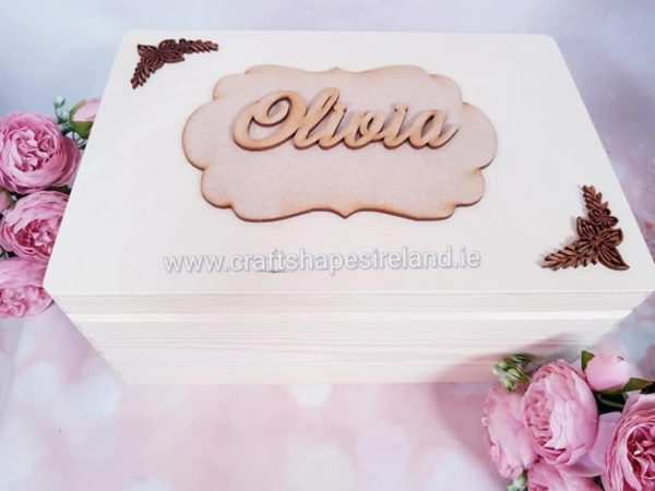 Personalised Keepsake box, scallop and flowers