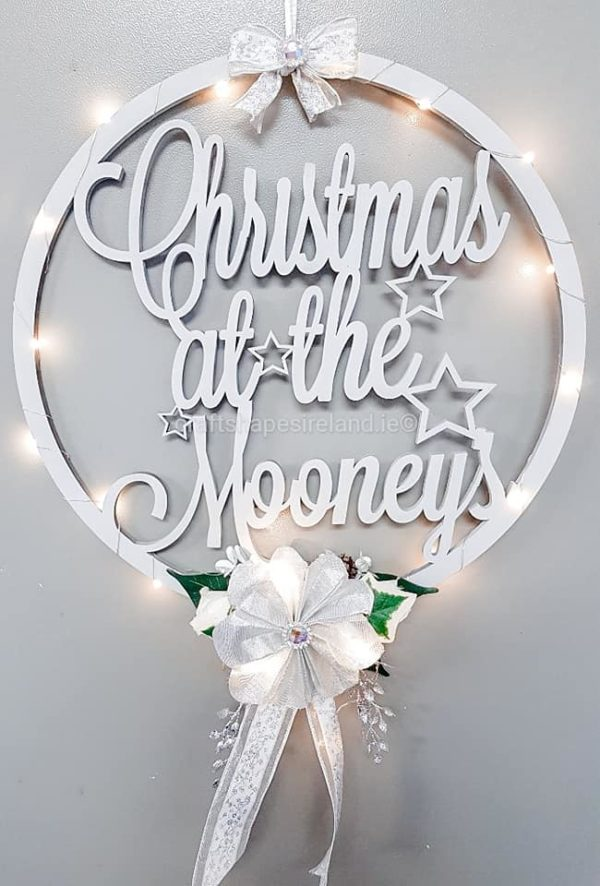 LIMITED EDITION II Personalised Floral Christmas Wreath - Lights S/G