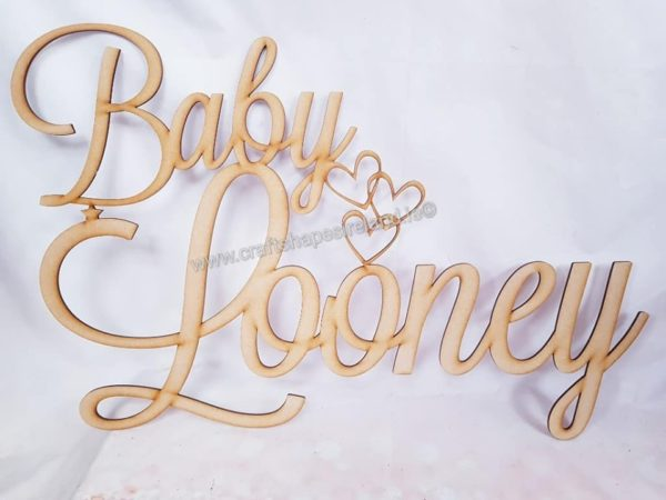 XL name - Baby with cutout hearts