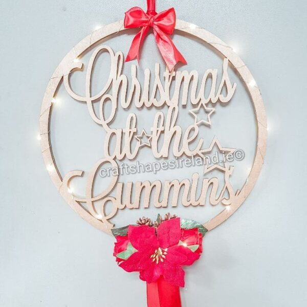 TV Personalised Floral Christmas Wreath - Lights
