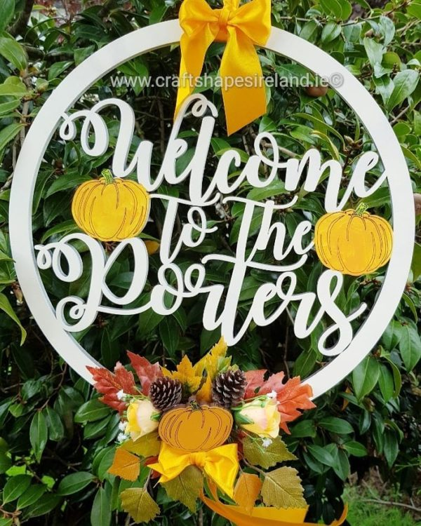Personalised Floral Autumnal Wreath