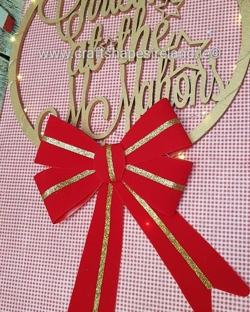 TV Personalised Christmas Wreath with bow &Lights