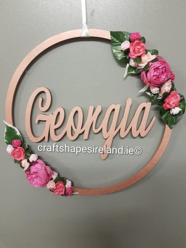 Painted Floral Door wreath - Floating Customised Insert