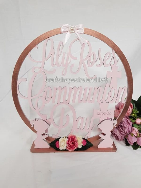 Communion Table top hoop figures, colour choice, flowers