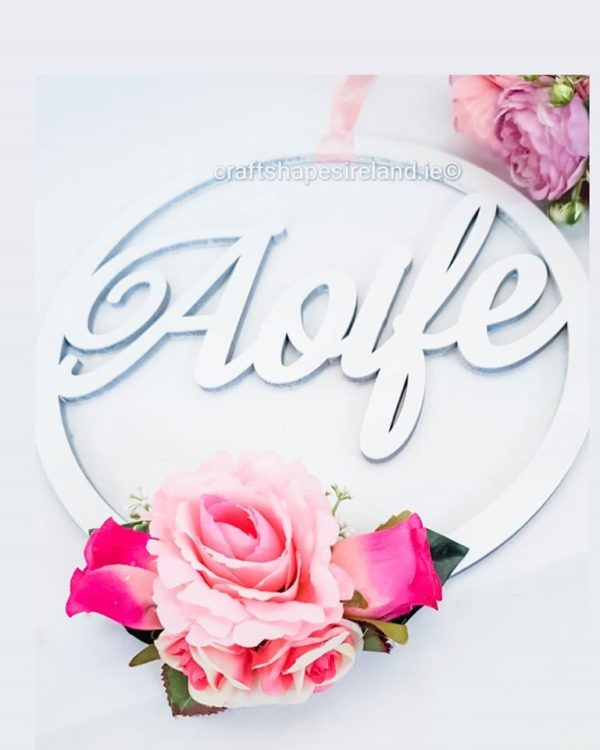 Door/Wall Name Hoop - floral white