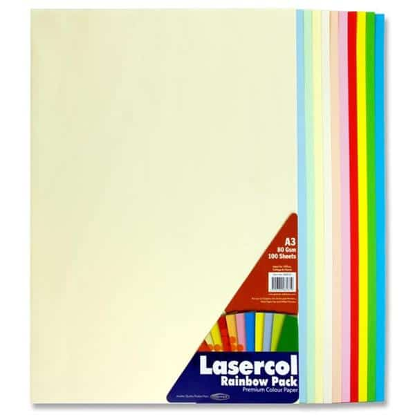 Lasercol A3 80gsm Colour Paper 100 Sheets - Rainbow