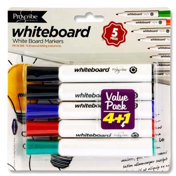 Pro:Scribe Card 4+1 Dry Wipe Marker Value Pack