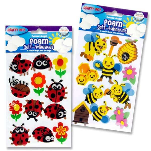 Crafty Bitz 3d Foam Stickers - Ladybug & Bee 2 Asst.