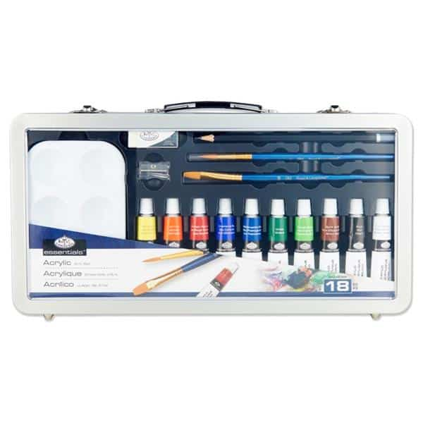 Essentials 18pce Deluxe Art Set In Carry Case - Acrylic