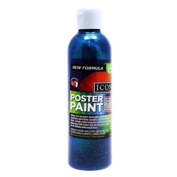 Icon 300ml Glitter Poster Paint - Blue