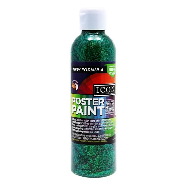 Icon 300ml Glitter Poster Paint - Green