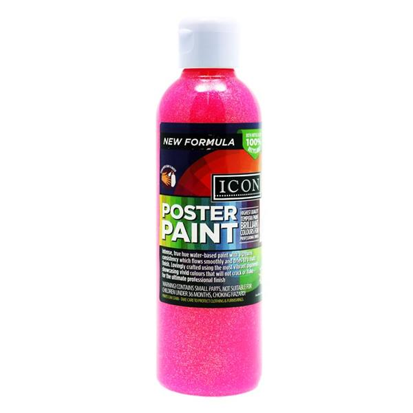 Icon 300ml Glitter Poster Paint - Pink