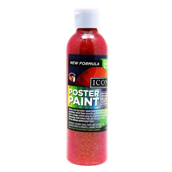 Icon 300ml Glitter Poster Paint - Red