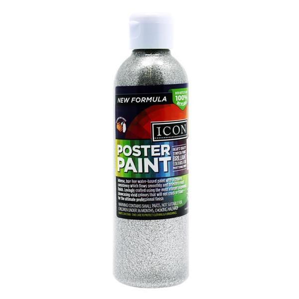 Icon 300ml Glitter Poster Paint - Silver