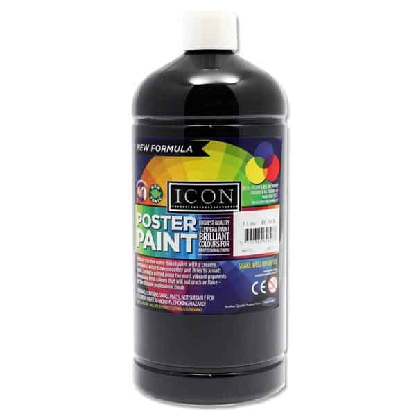 Icon Art 1ltr Poster Paint - Black