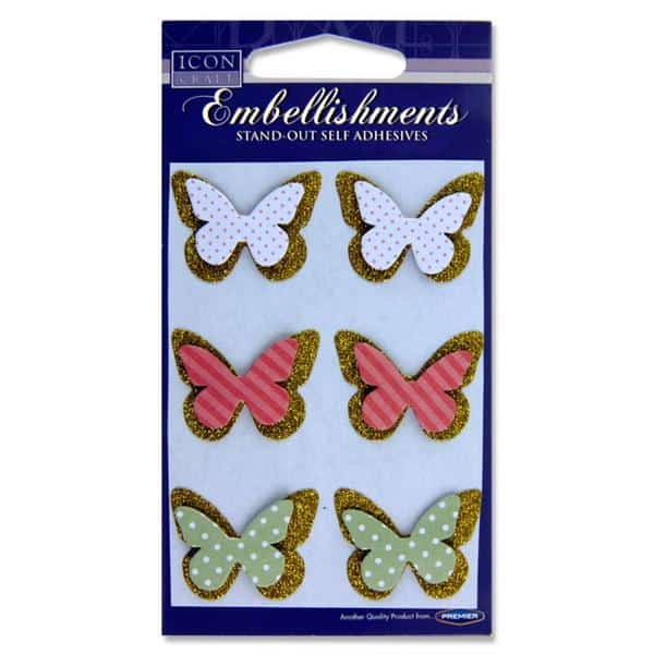 Icon Craft Card 6 Stand-Out Embellishments - Butterfly