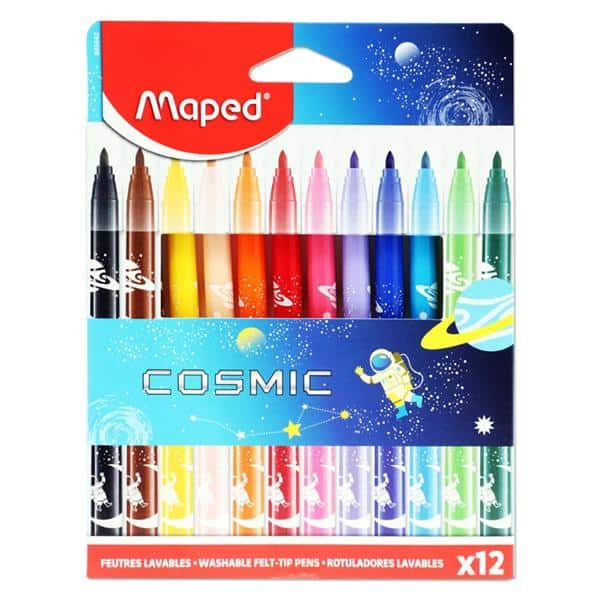 Maped Pkt.12 Washable Felt Tip Markers - Cosmic