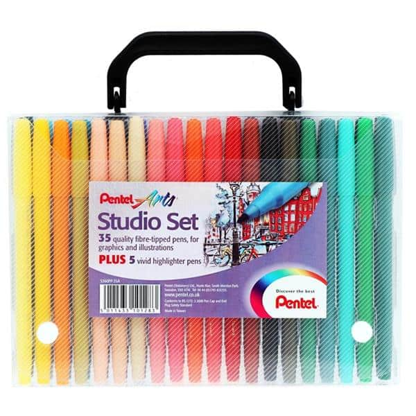 Pentel Arts 40pce Studio Markers Set In Carry Case