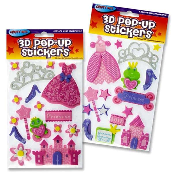Crafty Bitz 3d Pop Up Foam Stickers - Princess 2 Asst
