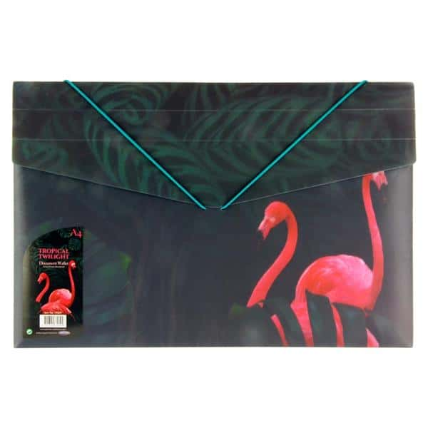 Emotionery A4 Document Wallet With Elastic Band - 3d Tropical Twilight