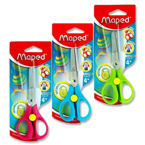 "Maped 3d 13cm/5"" Security Scissors 3 Asst - Carded"