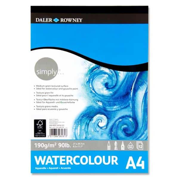 Daler Rowney Simply...a4 190gsm Watercolour Pad 12 Sheets
