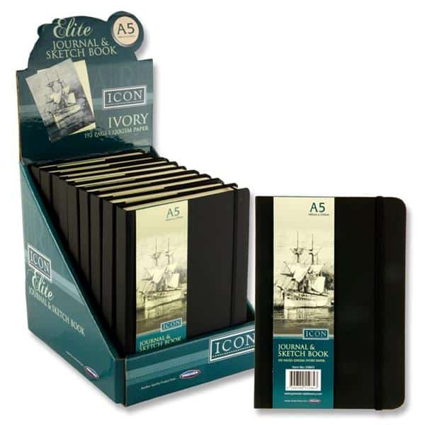 Icon A5 120gsm 192pg Black Journal & Sketch Book W/elastic