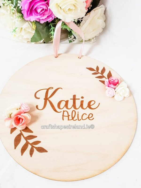 Wooden Name plaque - Name flowers and Leaves