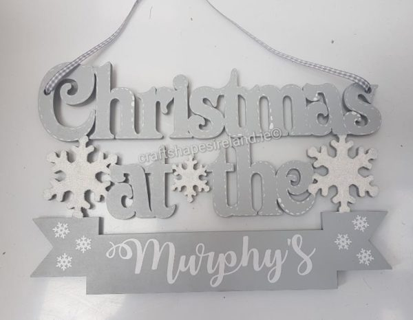 Personalised Christmas at - snowflake Plaque Grey