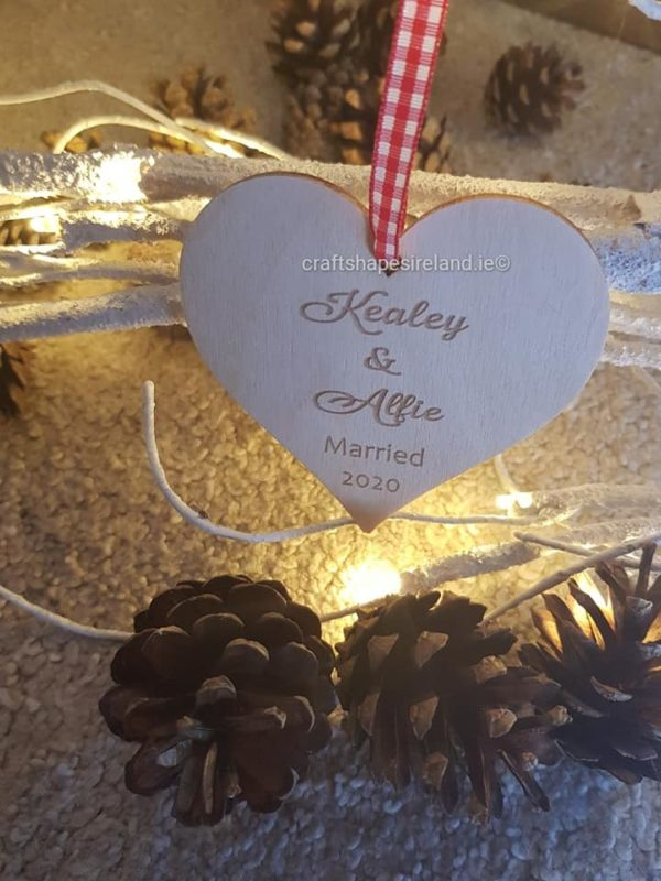 "Personalised ""Married 2020"" Heart - Birchwood"