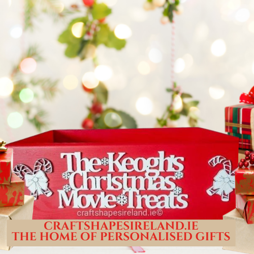 Christmas movie treats box, personalised - Red Case