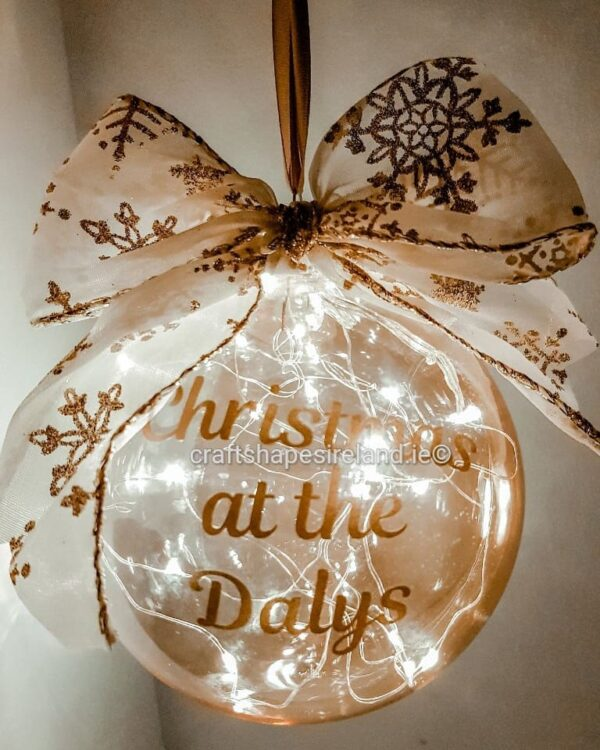 """""""Lights Gold"""" Personalised bauble - Show stopper"""