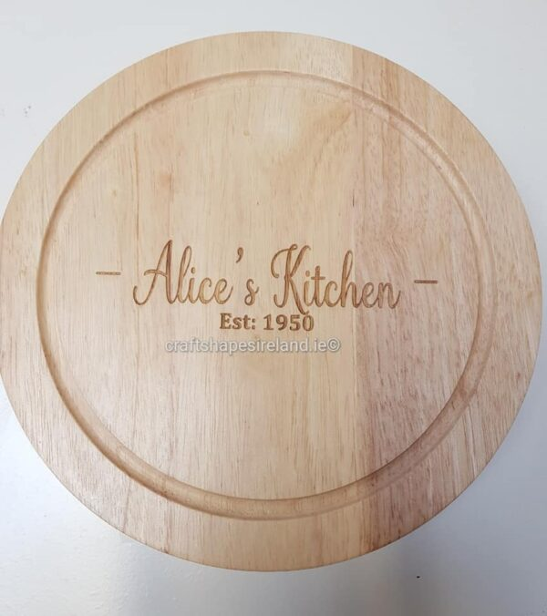 Personalised Circular cheeseboard with utensils - Round free text