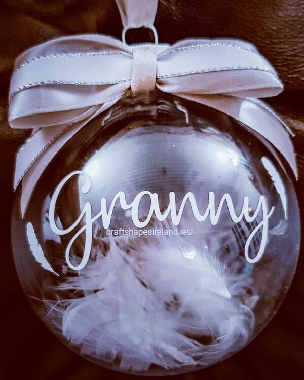 """""""Feathers"""" personalised Bauble"""