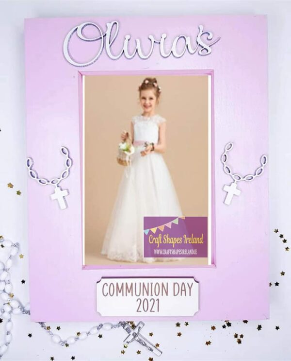 Personalised communion frame - pink